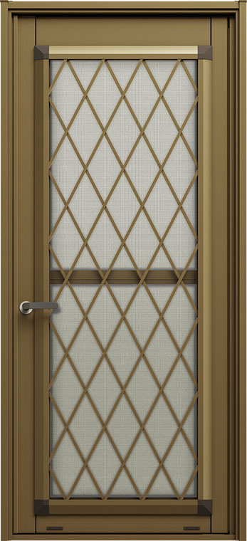 リシェント 勝手口ドア K型 ヒシクロス格子 断熱 Low-E複層ガラス仕様 特注サイズ W:516~916mm × H:1,426~2,256mm カバー工法 LIXIL リクシル TOSTEM DIY リフォーム