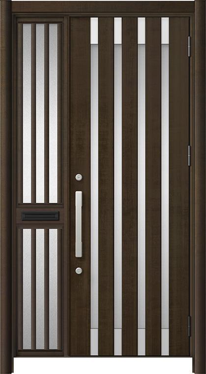 玄関ドア リシェント3 アルミ仕様 M11N型 片袖飾り中桟付ポスト付 W:1,013~1,446mm × H:2,039~2,438mm リクシル トステム