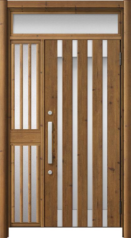玄関ドア リシェント3 アルミ仕様 ランマ付 M11N型 片袖飾り中桟付ポスト無 W:1,013~1,446mm × H:1,973~2,600mm リクシル トステム