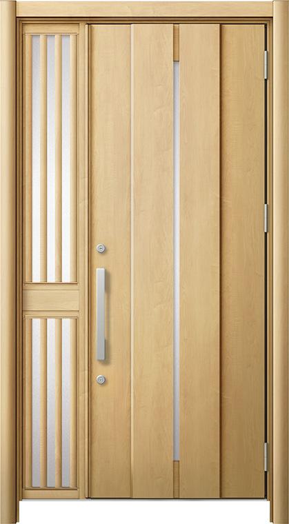 玄関ドア リシェント3 断熱仕様 K2 M12型 片袖飾り中桟付ポスト無ドア W:1,063~1,336mm × H:2,040~2,439mm リクシル トステム