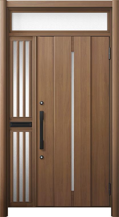 玄関ドア リシェント3 断熱仕様 ランマ付 K4 M12型 片袖飾り中桟付ポスト付ドア W:1,063~1,336mm × H:1,974~2,300mm リクシル トステム