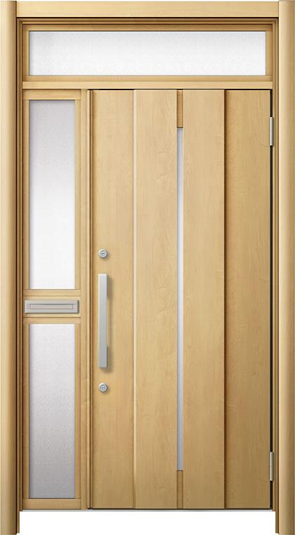 玄関ドア リシェント3 断熱仕様 ランマ付 K4 M12型 片袖中桟付ポスト付ドア W:1,063~1,336mm × H:1,974~2,300mm リクシル トステム