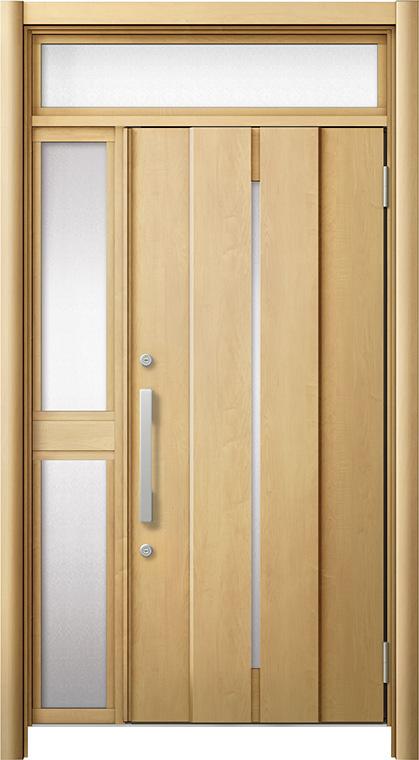 玄関ドア リシェント3 断熱仕様 ランマ付 K4 M12型 片袖中桟付ポスト無ドア W:1,063~1,336mm × H:1,974~2,300mm リクシル トステム