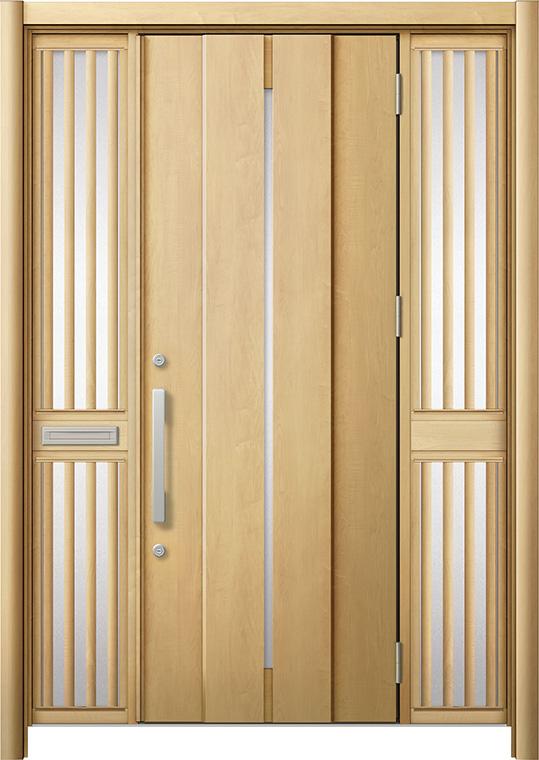 玄関ドア リシェント3 断熱仕様 K4 M12型 両袖飾り中桟付ポスト付 W:1,530~1,695mm × H:2,040~2,439mm リクシル トステム