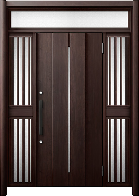 玄関ドア リシェント3 断熱仕様 K4 M12型 両袖ランマ付飾り中桟付ポスト無 W:1,080~1,695mm × H:2,301~2,600mm リクシル トステム
