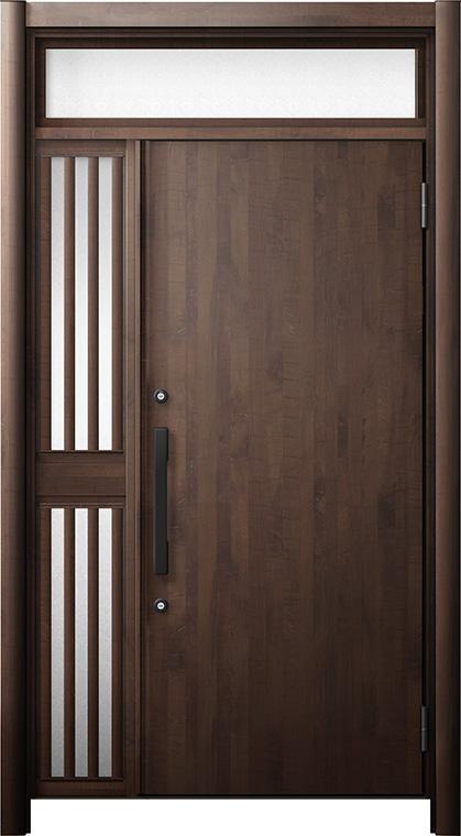 玄関ドア リシェント3 断熱仕様 ランマ付 K4 M17型 片袖飾り中桟付ポスト無ドア W:1,013~1,336mm × H:2,301~2,600mm リクシル トステム