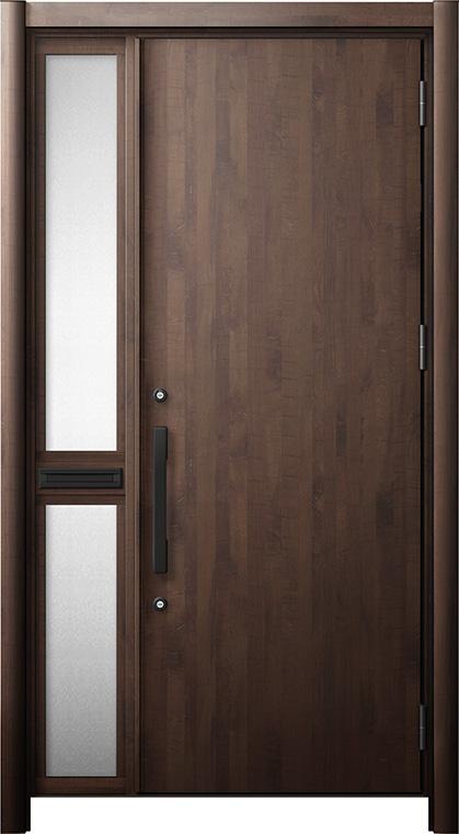 玄関ドア リシェント3 断熱仕様 K2 M17型 片袖中桟付ポスト付ドア W:1,013~1,336mm × H:1,739~2,039mm リクシル トステム