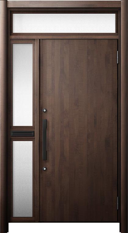 玄関ドア リシェント3 断熱仕様 ランマ付 K2 M17型 片袖中桟付ポスト付ドア W:1,013~1,336mm × H:2,301~2,600mm リクシル トステム