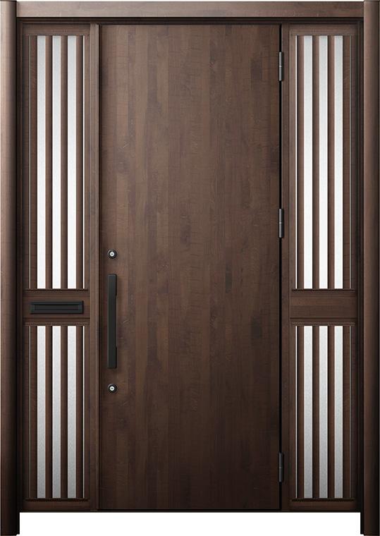 玄関ドア リシェント3 断熱仕様 K2 M17型 両袖飾り中桟付ポスト付 W:1,530~1,695mm × H:1,739~2,039mm リクシル トステム
