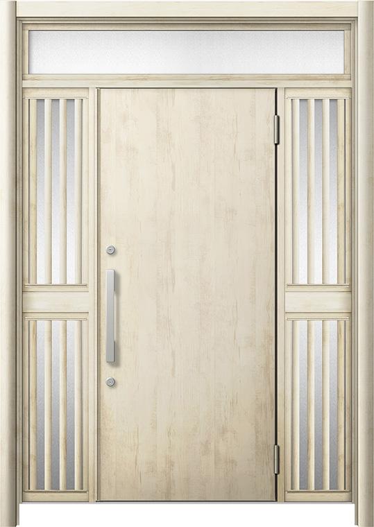 玄関ドア リシェント3 断熱仕様 K4 M17型 両袖ランマ付飾り中桟付ポスト無 W:1,030~1,695mm × H:1,974~2,300mm リクシル トステム