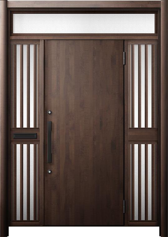 玄関ドア リシェント3 断熱仕様 K4 M17型 両袖ランマ付飾り中桟付ポスト付 W:1,530~1,695mm × H:2,301~2,600mm リクシル トステム