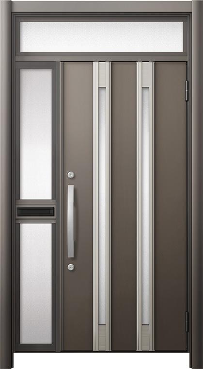 玄関ドア リシェント3 断熱仕様 ランマ付 K2 M24型 片袖中桟付ポスト付ドア W:1,063~1,336mm × H:2,301~2,600mm リクシル トステム