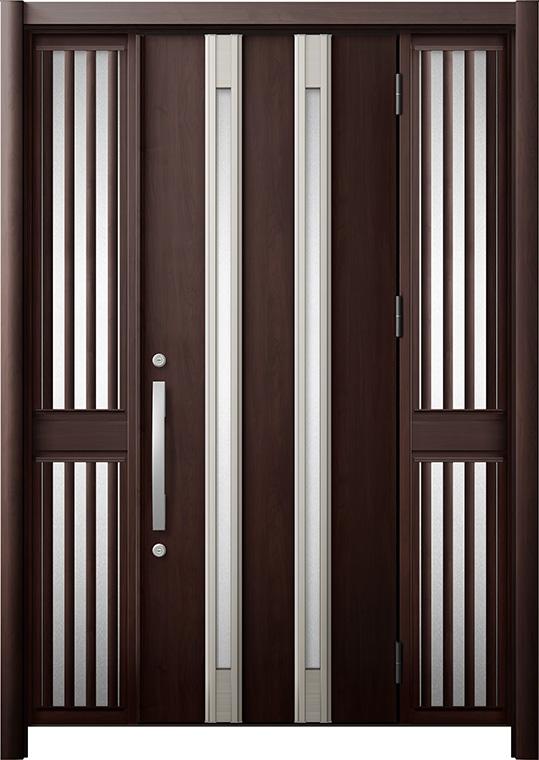 玄関ドア リシェント3 断熱仕様 K4 M24型 両袖飾り中桟付ポスト無 W:1,080~1,695mm × H:1,739~2,039mm リクシル トステム