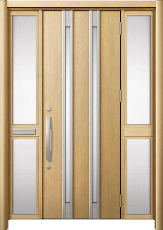 玄関ドア リシェント3 断熱仕様 K2 M24型 両袖中桟付ポスト付 W:1,530~1,695mm × H:2,040~2,439mm リクシル トステム