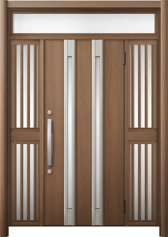 玄関ドア リシェント3 断熱仕様 K2 M24型 両袖ランマ付飾り中桟付ポスト無 W:1,080~1,695mm × H:2,301~2,600mm リクシル トステム