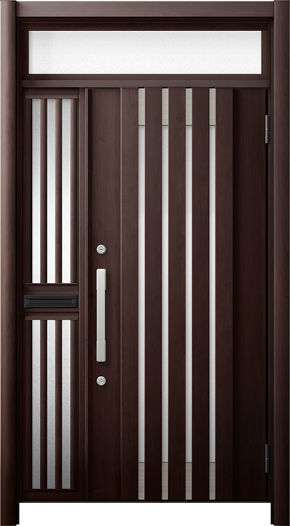 玄関ドア リシェント3 断熱仕様 ランマ付 K2 M27型 片袖飾り中桟付ポスト付ドア W:1,013~1,336mm × H:1,974~2,300mm リクシル トステム