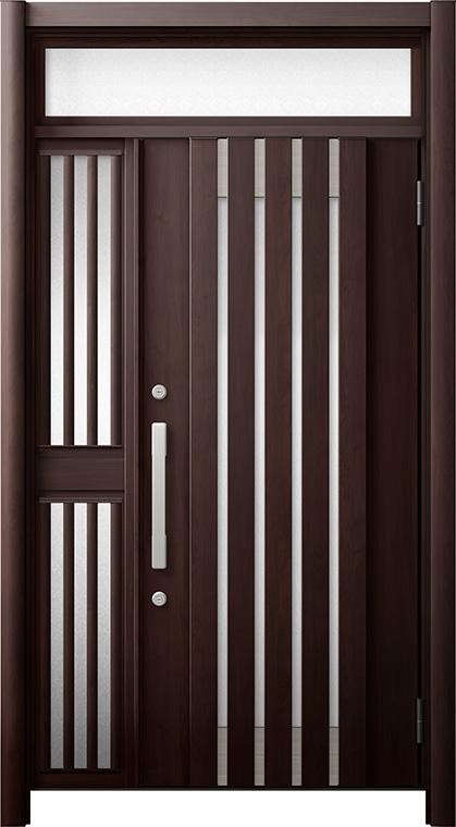 玄関ドア リシェント3 断熱仕様 ランマ付 K4 M27型 片袖飾り中桟付ポスト無ドア W:1,013~1,336mm × H:1,974~2,300mm リクシル トステム