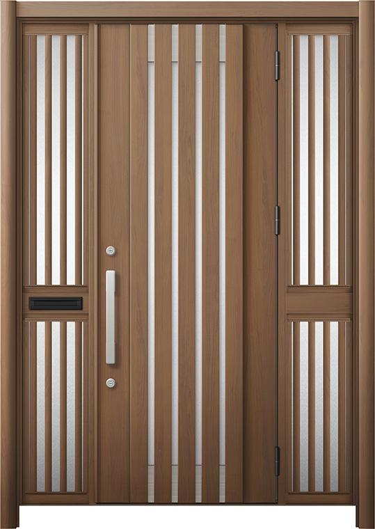 【大注目】 リシェント 玄関ドア3 断熱仕様 / 非防火 K4 M27型 アルミ色 両袖飾り 中桟付ポスト付 特注サイズ W:1,372~1,695mm × H:1,739~2,439mm カバー工法 LIXIL, Callum shop fe77d9f5
