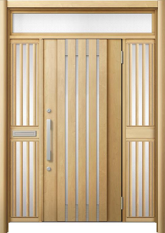 玄関ドア リシェント3 断熱仕様 K4 M27型 両袖ランマ付飾り中桟付ポスト付 W:1,530~1,695mm × H:2,301~2,600mm リクシル トステム