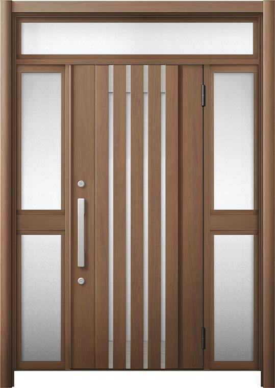 玄関ドア リシェント3 断熱仕様 K2 M27型 両袖ランマ付中桟付ポスト無 W:1,030~1,695mm × H:2,301~2,600mm リクシル トステム