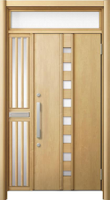 【公式】 玄関ドア リシェント3 断熱仕様 ランマ付 K4 M28型 片袖飾り中桟付ポスト付ドア W:1,013~1,336mm × H:1,974~2,300mm リクシル トステム, 頓原町 5511858d