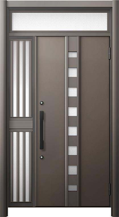 玄関ドア リシェント3 断熱仕様 ランマ付 K4 M28型 片袖飾り中桟付ポスト無ドア W:1,013~1,336mm × H:2,301~2,600mm リクシル トステム