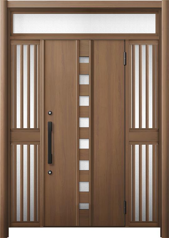 玄関ドア リシェント3 断熱仕様 K4 M28型 両袖ランマ付飾り中桟付ポスト無 W:1,030~1,695mm × H:2,301~2,600mm リクシル トステム
