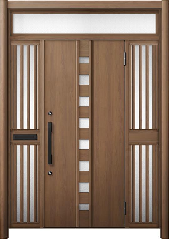 玄関ドア リシェント3 断熱仕様 K4 M28型 両袖ランマ付飾り中桟付ポスト付 W:1,530~1,695mm × H:2,301~2,600mm リクシル トステム