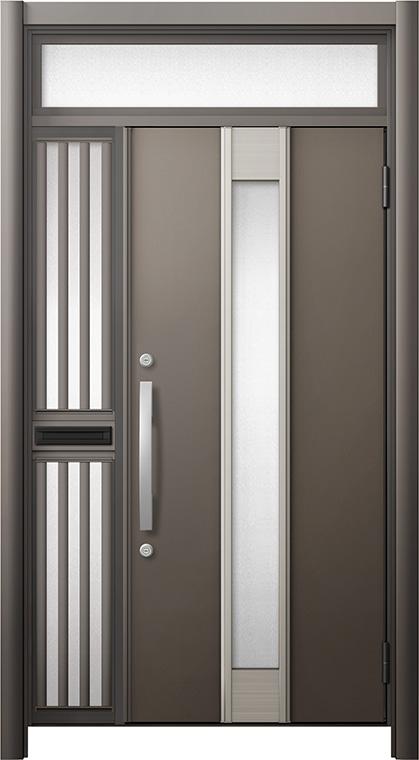 【受注生産品】 玄関ドア リシェント3 断熱仕様 ランマ付 K4 M77型 片袖飾り中桟付ポスト付ドア W:1,013~1,336mm × H:1,974~2,300mm リクシル トステム, キャンピングリサーチ 0e35017d