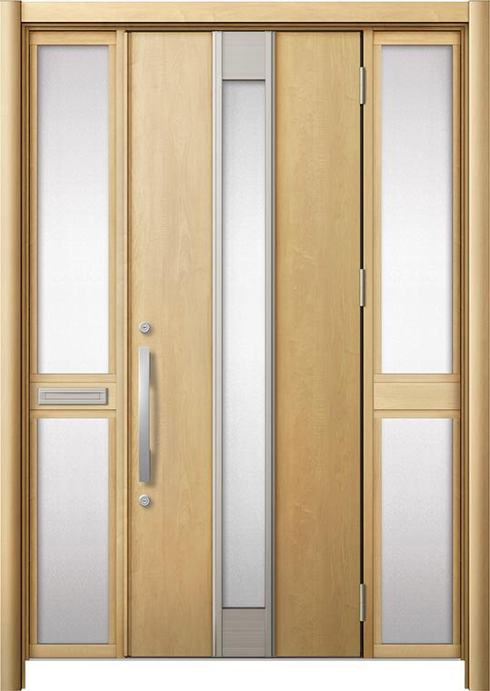 玄関ドア リシェント3 断熱仕様 K4 M77型 両袖中桟付ポスト付 W:1,530~1,695mm × H:2,040~2,439mm リクシル トステム