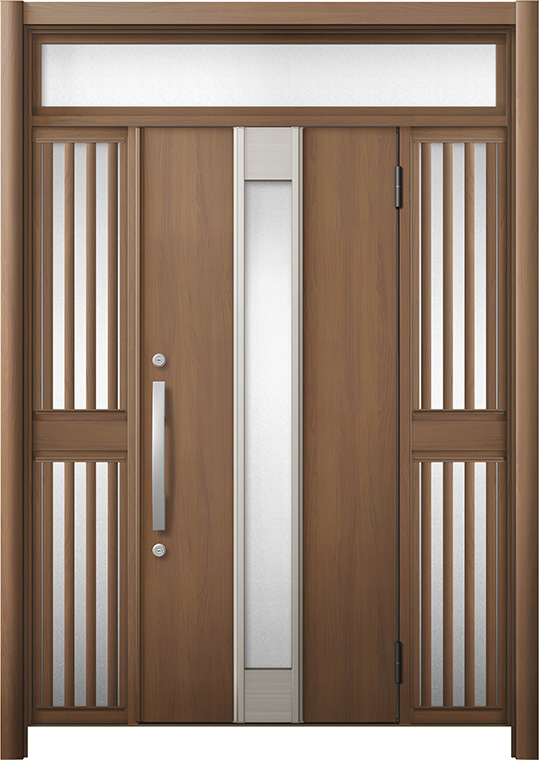 玄関ドア リシェント3 断熱仕様 K2 M77型 両袖ランマ付飾り中桟付ポスト無 W:1,030~1,695mm × H:1,974~2,300mm リクシル トステム