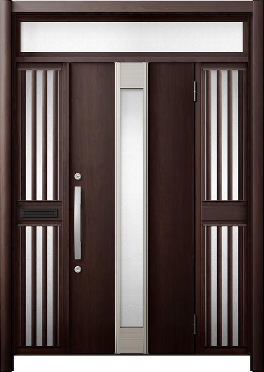 玄関ドア リシェント3 断熱仕様 K4 M77型 両袖ランマ付飾り中桟付ポスト付 W:1,530~1,695mm × H:2,301~2,600mm リクシル トステム