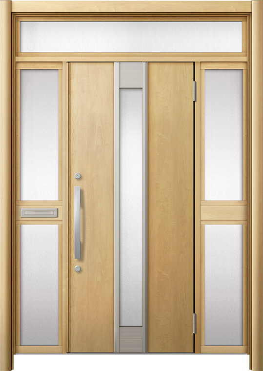 玄関ドア リシェント3 断熱仕様 K2 M77型 両袖ランマ付中桟付ポスト付 W:1,530~1,695mm × H:2,301~2,600mm リクシル トステム