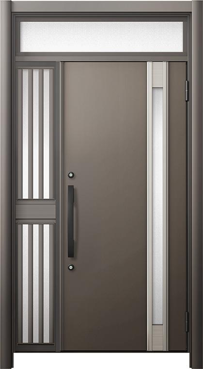 玄関ドア リシェント3 断熱仕様 ランマ付 K4 M78型 片袖飾り中桟付ポスト無ドア W:1,013~1,336mm × H:2,301~2,600mm リクシル トステム