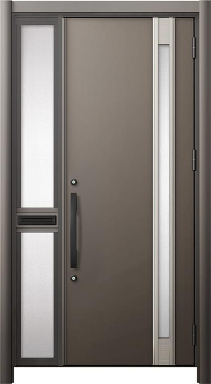 玄関ドア リシェント3 断熱仕様 K2 M78型 片袖中桟付ポスト付ドア W:1,013~1,336mm × H:2,040~2,439mm リクシル トステム