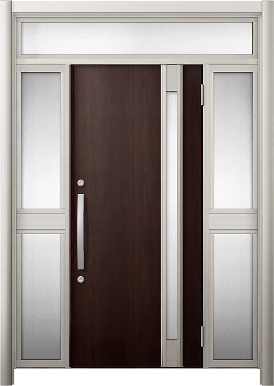 玄関ドア リシェント3 断熱仕様 K4 M78型 両袖ランマ付中桟付ポスト無 W:1,030~1,695mm × H:1,974~2,300mm リクシル トステム