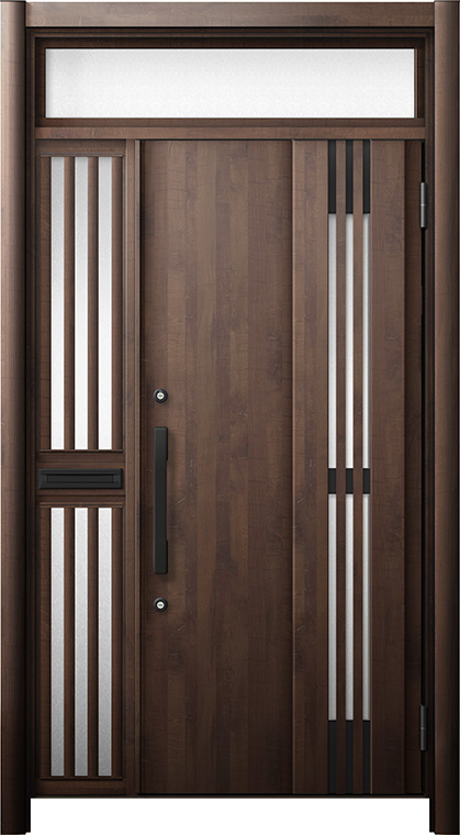 玄関ドア リシェント3 断熱仕様 ランマ付 K4 M83型(採風タイプ) 片袖飾り中桟付ポスト付ドア W:1,063~1,336mm × H:2,301~2,600mm リクシル トステム
