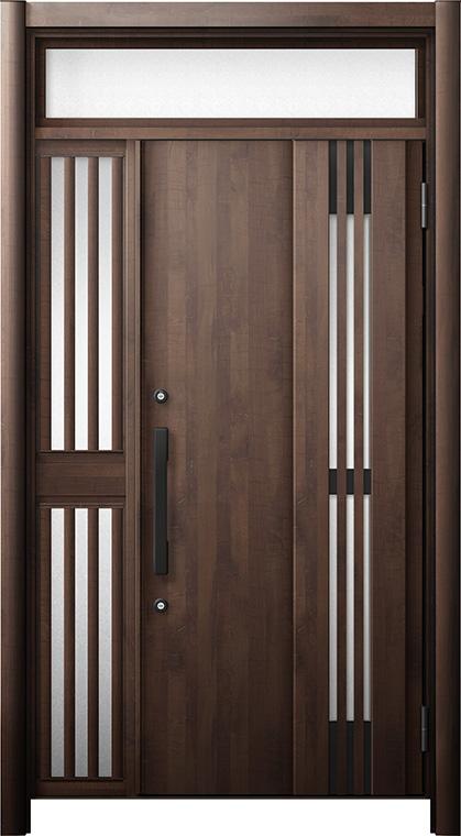 玄関ドア リシェント3 断熱仕様 ランマ付 K4 M83型(採風タイプ) 片袖飾り中桟付ポスト無ドア W:1,063~1,336mm × H:2,301~2,600mm リクシル トステム