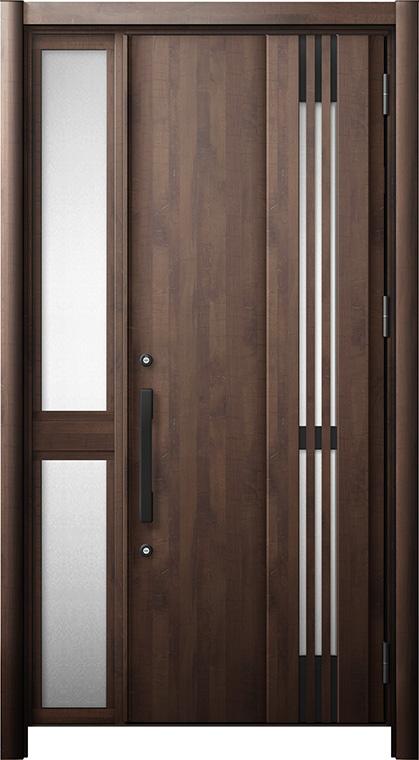 玄関ドア リシェント3 断熱仕様 K2 M83型(採風タイプ) 片袖中桟付ポスト無ドア W:1,063~1,336mm × H:1,840~2,039mm リクシル トステム