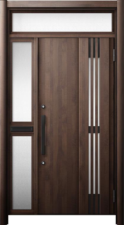 玄関ドア リシェント3 断熱仕様 ランマ付 K4 M83型(採風タイプ) 片袖中桟付ポスト付ドア W:1,063~1,336mm × H:2,301~2,600mm リクシル トステム
