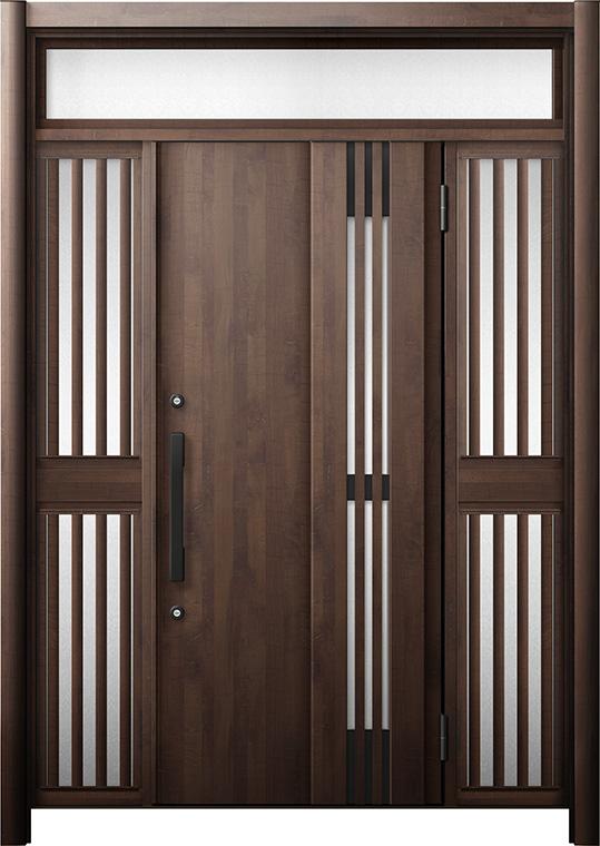 玄関ドア リシェント3 断熱仕様 K4 M83型(採風タイプ) 両袖ランマ付飾り中桟付ポスト無 W:1,080~1,695mm × H:2,074~2,300mm リクシル トステム
