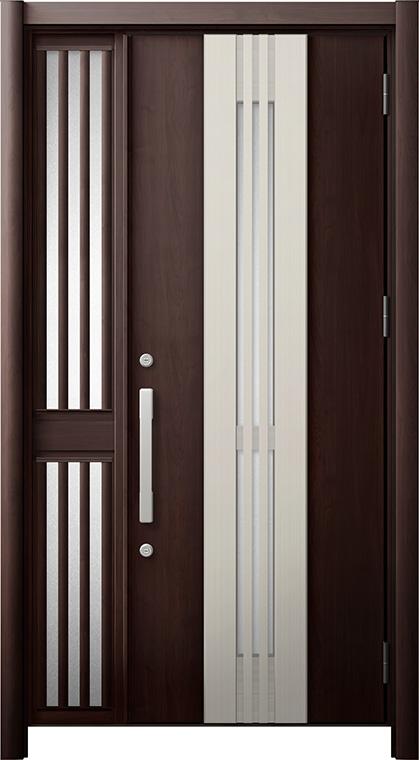 玄関ドア リシェント3 断熱仕様 K2 M84型(採風タイプ) 片袖飾り中桟付ポスト無ドア W:1,113~1,336mm × H:2,040~2,350mm リクシル トステム