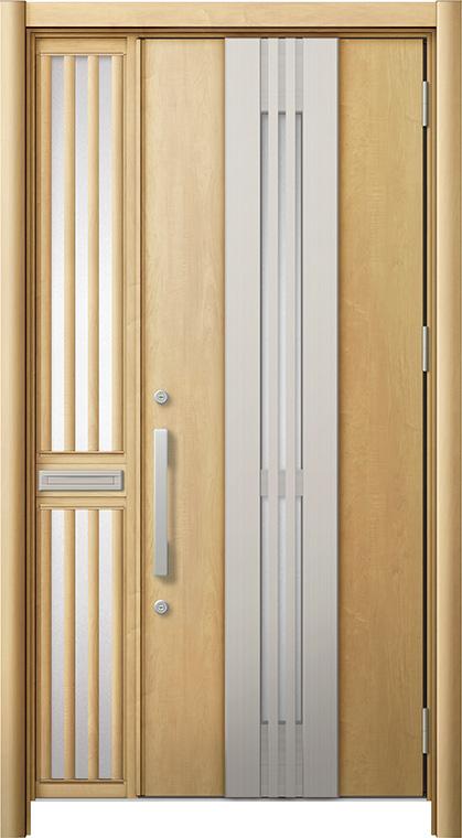 玄関ドア リシェント3 断熱仕様 K2 M84型(採風タイプ) 片袖飾り中桟付ポスト付ドア W:1,113~1,336mm × H:1,840~2,039mm リクシル トステム