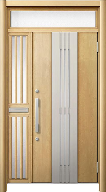 玄関ドア リシェント3 断熱仕様 ランマ付 K4 M84型(採風タイプ) 片袖飾り中桟付ポスト付ドア W:1,113~1,336mm × H:2,301~2,600mm リクシル トステム