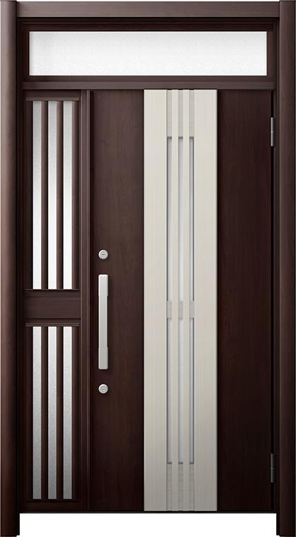 玄関ドア リシェント3 断熱仕様 ランマ付 K4 M84型(採風タイプ) 片袖飾り中桟付ポスト無ドア W:1,113~1,336mm × H:2,301~2,600mm リクシル トステム
