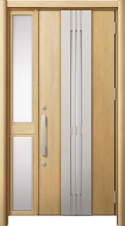 玄関ドア リシェント3 断熱仕様 K2 M84型(採風タイプ) 片袖中桟付ポスト無ドア W:1,113~1,336mm × H:1,840~2,039mm リクシル トステム