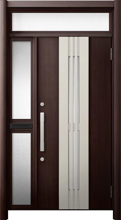 玄関ドア リシェント3 断熱仕様 ランマ付 K4 M84型(採風タイプ) 片袖中桟付ポスト付ドア W:1,113~1,336mm × H:2,301~2,600mm リクシル トステム