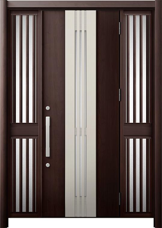 玄関ドア リシェント3 断熱仕様 K4 M84型(採風タイプ) 両袖飾り中桟付ポスト無 W:1,130~1,695mm × H:1,840~2,039mm リクシル トステム