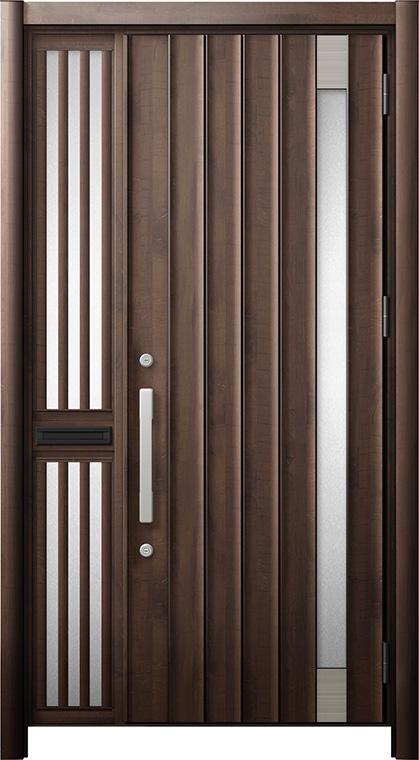 玄関ドア リシェント3 断熱仕様 K2 P77型 片袖飾り中桟付ポスト付ドア W:1,051~1,336mm × H:2,040~2,439mm リクシル トステム
