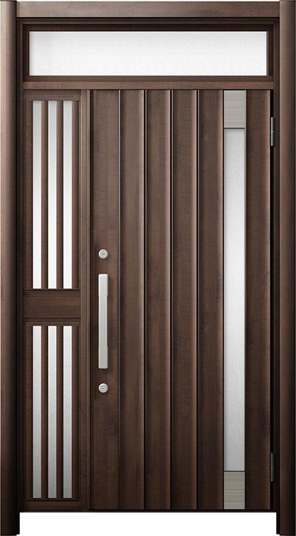 玄関ドア リシェント3 断熱仕様 ランマ付 K4 P77型 片袖飾り中桟付ポスト無ドア W:1,051~1,336mm × H:2,301~2,600mm リクシル トステム